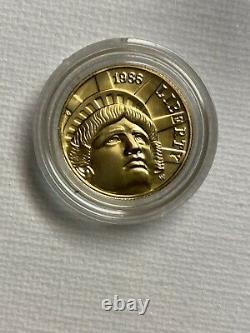 États-unis 1986-w Unc. Statue De La Liberté $5 Proof Gold Coin. 2418 Oz. 900 Pure D'or