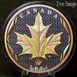 Feuille D'érable En Mouvement 2021 50 $ Argent Pur Jaune Et Rose Or Plaqué Coin Canada