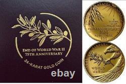 Fin De La Seconde Guerre Mondiale 75e Anniversaire 24-karat Gold Coin 1/2oz. En Main