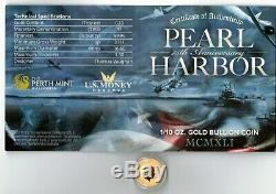 Gem Bu 2016 Perth / Tuvalu Pearl Harbor Commémorative 1/10 Pièce En Or Avec Coa