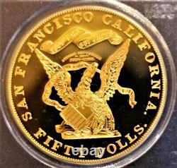 Gold 1855 Kellogg $50 Commémorative Restrike Ss Amérique Centrale Pcgs Gem Proof