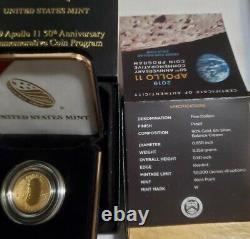 Gold 2019 W Proof Apollo 11 50e Anniversaire Incurvé 5 $ Pièce- Basse Mintage 1/50k