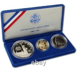 Gold Coin États-unis Liberty Coins 1886 1986 3 Ensemble De Preuves De Pièces Avec Boîtier & Coa