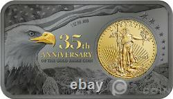 Gold Eagle 35e Anniversaire 1 Oz Silver Bar Incl. Gold Coin 50$ USA 2021