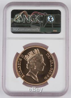 Grande-bretagne 1985 Cinq (5) Livre D'or Pièce De Monnaie Souveraine Ngc Ms69 Gem 1,177 Oz Agw