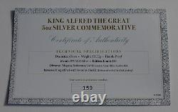 King Alfred The Great 5oz Silver Commemorative Medal/coin 24ct Gold Plaing Coa