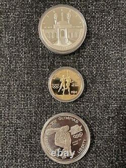 L. A. Jeux Olympiques 1984-s $10 Or, Et 1983-s & 1984-s $1 Argent, 3-coin Proof Set