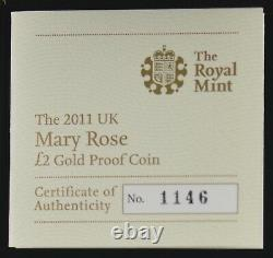 Mary Rose 2011 Royaume-uni £2 Deux Pound Gold Proof Coin Box/coa/outer