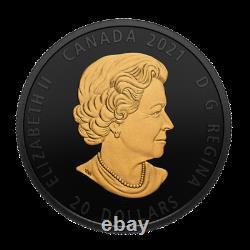 Nouveau Canada 20 $ En Argent De Monnaie Rhodium Et Plaqué Or 1 Oz Grey Wolf, 2021
