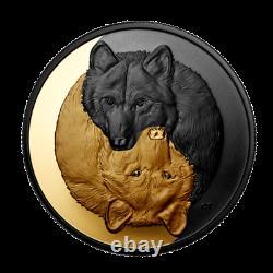 Nouveau Rhodium D'argent Du Canada Et Plaqué Or 20 $ Pièce 1 Oz Grey Wolf, 2021