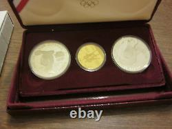 Olympic 3 Coin Proof Set 1984 W $10 Gold 1983 S - 1984 S Silver Dollars