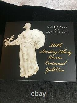 Pièce D'or Du Centenaire 2016 Standing Liberty Quarter Original Mint Pkg & Coa