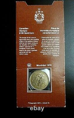 Pièce D'or Olympique Canadienne De 100 $ 1/4 Oz Jeux Olympiques De Montréal 1976