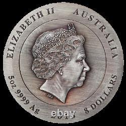 Rare Earth 2018 5oz Silver High Relief Patina Coin Avec Diamant Doré Australie