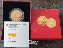 Roger Federer 2020 50 Francs Suisses Pièce D'or Preuve Pièce Commémorative