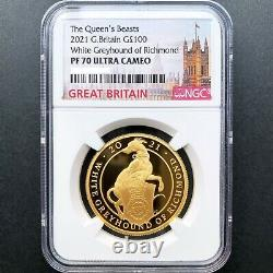 Royaume-uni 2021 Grande-bretagne Queen's Beasts White Greyhound Gold Proof Coin Ngc Pf70 Uc