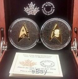Star Trek Delta 200 $ Coin Shaped 2016 16.20grams Pur Preuve D'or. Monnaie Épuisé