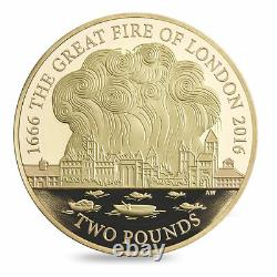 The Royal Mint The Great Fire Of London 2016 Uk £2 Gold Proof Coin Complet