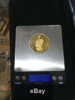Tres Rare Shah Impératrice Coronation Médaillon D'or Commémorative 50 G Coin 1967-1968