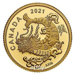 Triumphant Or Dragon 2021 1,58g Pièce D'or Pur Monnaie Royale Canadienne