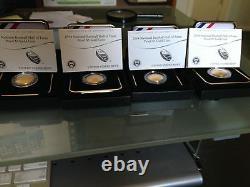 Us Mint Boxed 2 Unc + 2 Proof 2014 5 $ 5 $ Hall De Base De Baseball National Baseball Hall Of Gold Coin