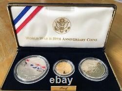 World War II 50th Anniversary Coins 90% Or, 90% Preuve D'argent, Bel Ensemble